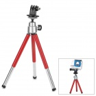 Mini Portable 2-section Selfie Tripod Adapter for Gopro Camera - Red + Silver