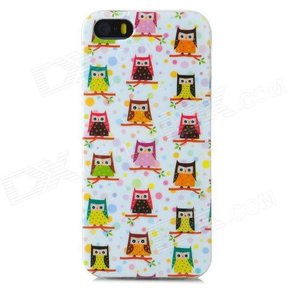 Cartoon Owls Pattern Protective TPU Back Case for Iphone 5 / 5s - White + Pink + Multicolored  glossy tpu gel cartoon pattern mobile cover for iphone 7 plus 5 5 inch polar bear