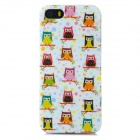 Cartoon Owls Pattern Protective TPU Back Case for Iphone 5 / 5s - White + Pink + Multicolored