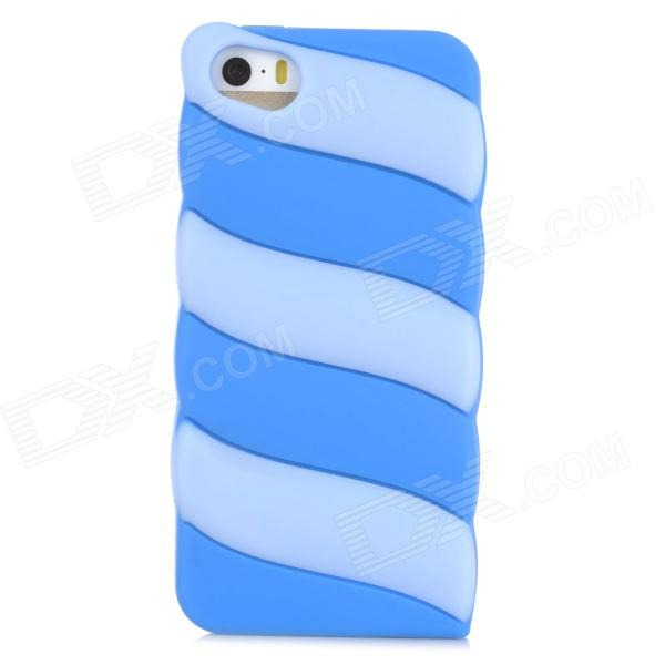 Cute Marshmallow Style Silicone Back Case for Iphone 5 / 5s - Light Blue + Deep Blue cute girl pattern protective rhinestone decoration back case for iphone 5 light pink light blue