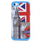 Retro UK Flag & Big Ben Pattern 2-in-1 Silicone + PC Back Case for Iphone 5 / 5s - Blue + Red