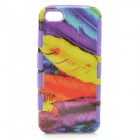 A-556 Stylish Feather Pattern 2-in-1 Plastic Back Case for Iphone 5 / 5s - Purple + Black