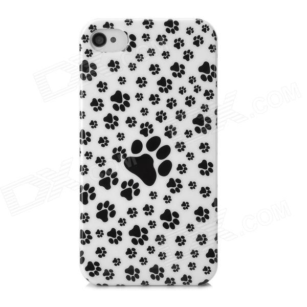 Paws Pattern Protective Plastic Back Case for Iphone 4 / 4s - Black + White cartoon pattern matte protective abs back case for iphone 4 4s deep pink