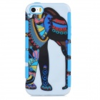 A-556 Stylish Cartoon Elephant Pattern 2-in-1 Plastic Back Case for Iphone 5 / 5s - Blue + White