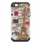 Protective Eiffel Tower Pattern 2-in-1 Silicone + PC Back Case for Iphone 5 / 5s - Multicolored