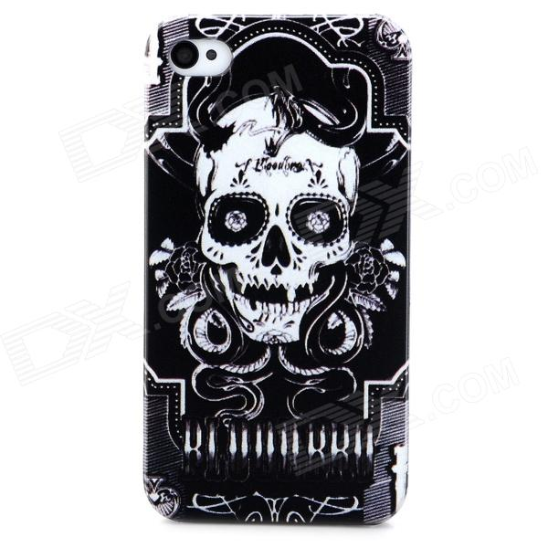 все цены на Skull Pattern Protective Plastic Back Case for Iphone 4 / Iphone 4S - Black + White онлайн