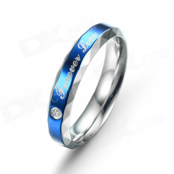 EQute RSSC10WS7 316L Stainless Steel Zircon Woman's Finger Ring - Blue + Silver (Size 7) r97541w leaf style copper zircon finger ring silver