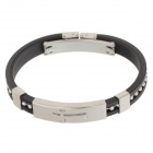 Decompression Anion Silicone Non-Allergy Bracelet - Silver + Black