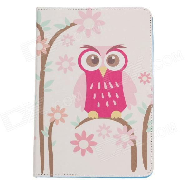Stylish Owl Pattern Protective PU Leather Case Cover Stand for Ipad MINI - Beige + Pink + Colorful