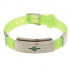Decompression Anion Silicone Non-Allergy Bracelet - Silver + Green