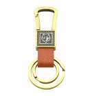 Double-Ring PU Leather + Zinc Alloy Keychain - Bronze