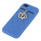 Stylish Protective Silicone Back Case w/ Rhinestone Crown Decoration for Iphone 5 / 5s - Blue