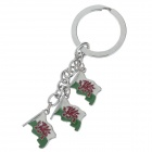 Lovely Welsh Flag Styel Stainless Steel Keychain - Silver + Red + Green