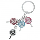 Lovely Lollipop Style Stainless Steel Keychain - White + Silver + Red + Black + Blue + Pink