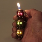 Stylish LED Eyes Skull Heads Pattern Gas Lighter - Red Copper (3 x LR621)
