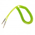 3.5mm TRS Male to Male Stereo Audio Coiled Cable - Green (154cm)