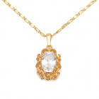 KCCHSTAR High-Quality 24K Gold Electroplating Fine Copper w/ Crystal Pendant Necklace - Golden