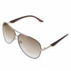 DUWEI 8238 Stylish Zinc Alloy Frame Resin Lens UV400 Protection Men's Sunglasses - Rose Gold + Brown