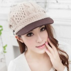 Wool Wooden Button Women's Peaked Cap - White