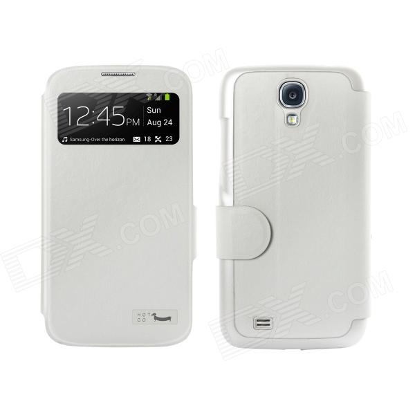 HOTGO KOMO Protective PU Leather Case Cover w/ Visual window for Samsung Galaxy S4 i9500 - White