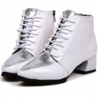 Fashion Color Matching Point Joker Thick Knight Female Short Boots - White (Size-38)