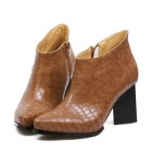 1554A British Fashionable Style Pointed Crocodile Grain Thick Short Boots - Brown (Size-38)