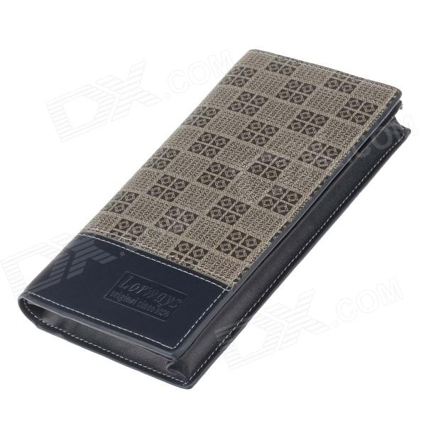 Lorways 016# Stylish Check Pattern Long Style PU Leather Men's Wallet - Blue + Coffee