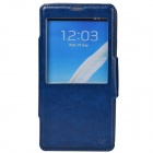 Dikuka Protective PU Leather + TPU Case Stand w/ Visual Window for Samsung Galaxy Note 3 - Deep Blue