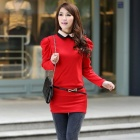 Stylish Women's Doll Collar Slim Dress - Red (Size-M)