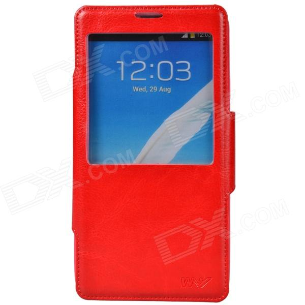 Dikuka Protective PU Leather + TPU Case Stand w/ Visual Window for Samsung Galaxy Note 3 N9000 - Red