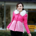 Stylish Women's Printed Lace Fur Collar Cotton-padded Coat - Deep Pink (Size-L)