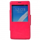 Dikuka Protective PU Leather + TPU Case Stand w/ Visual Window for Samsung Galaxy Note 3 - Deep Pink