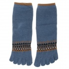 Enbl MF777 Fashionable Men's Cotton Toe Socks - Blue + Brown (Pair)