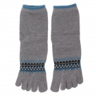 Enbl MF777 Fashionable Men's Cotton Toe Socks - Grey + Blue (Pair)
