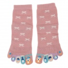 Enbl 5231 100% Cotton Fashionable Women's Toe Socks - Pink (Pair)