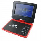 "Portable 7.8"" LCD Mobile DVD Player w/ TV, FM, Card Reader, Game and USB - Red"