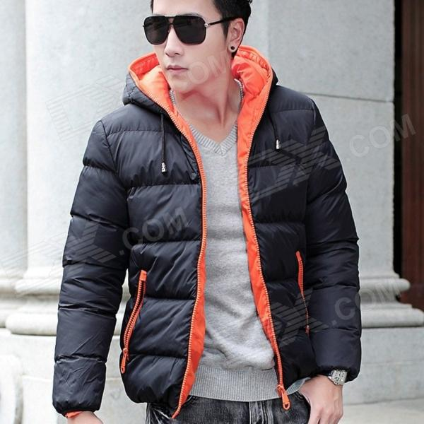YH1039 Autumn Winter Leisure Men's Cotton-padded Clothes Zipper Cotton Coat - Black + Red (Size-L)