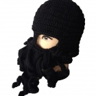 PANNOVO Hand-made Cute Octopus Outdoor Thermal Windproof Caddice Balaclava Helmet Cap Hats - Black