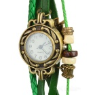 Retro Leather Band Style Fashion Women's Analog Quartz Wrist Watch - Green (1 x 377)