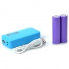 DIY Rechargeable 4800mAh 2 x 18650 Mobile Power Bank w/ USB / LED Lamp - Blue