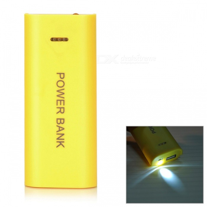 DIY Rechargeable 4800mAh 2 x 18650 Mobile Power Bank w/ USB / LED Lamp - Yellow 5v 2600mah rechargeable power bank w subtle aroma yellow