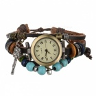 Buy Retro Leather Band Women's Analog Quartz Wrist Watch - Brown (1*377)