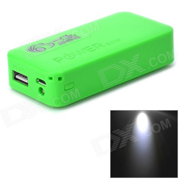 DIY Rechargeable 4800mAh 2 x 18650 Mobile Power Bank w/ USB / LED Lamp - Green m pai 809t mtk6582 quad core android 4 3 wcdma bar phone w 5 0 hd 4gb rom gps black