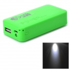 DIY Rechargeable 4800mAh 2 x 18650 Mobile Power Bank w/ USB / LED Lamp - Green