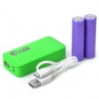 DIY recarregável 4800mAh 2 x 18650 Mobile Power Banco w / USB / LED Lamp - Verde