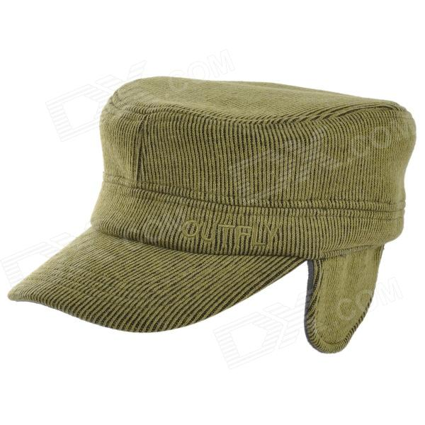 OUTFLY Outdoor Winter Flat Top Earflaps Hat Cap for Men - Army Green gift children knitting wool hat cute keep warm rabbit beanie cap autumn and winter hat with earflaps whcn