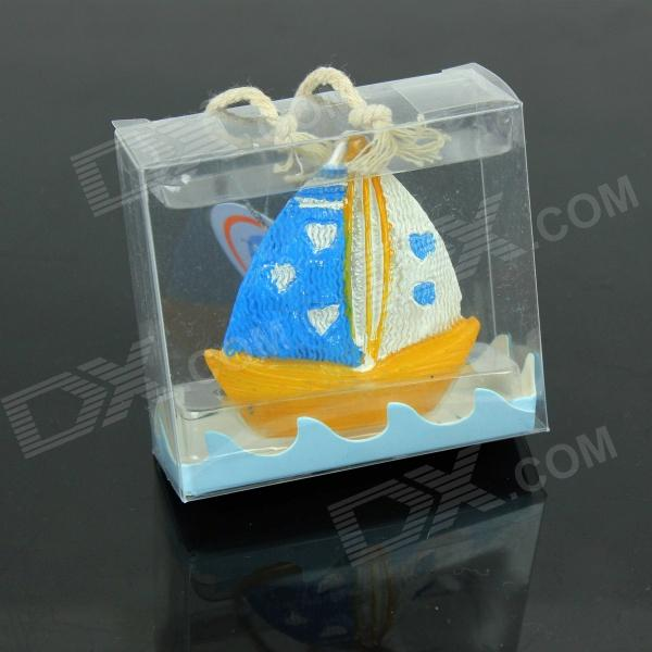 Creative Love Sailing Candle - Blue + Yellow + White