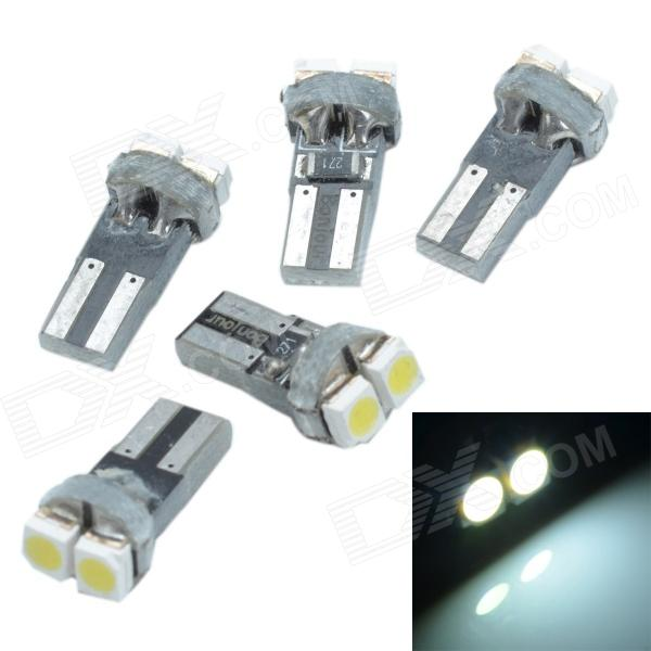 Cheerlink T5-2 T5 0.5W 12lm 2 x SMD 3528 LED White Light Car Instrument Lamps - (12V / 5 PCS) cheerlink 1157 11w 800lm 5 led red light car lamp silver white 12v 2 pcs