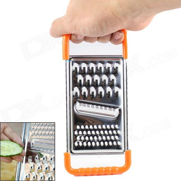Kitchen Stainless Steel 3 in 1 Multi-function Food Grater - Silver + Orange stainless steel cuticle removal shovel tool silver