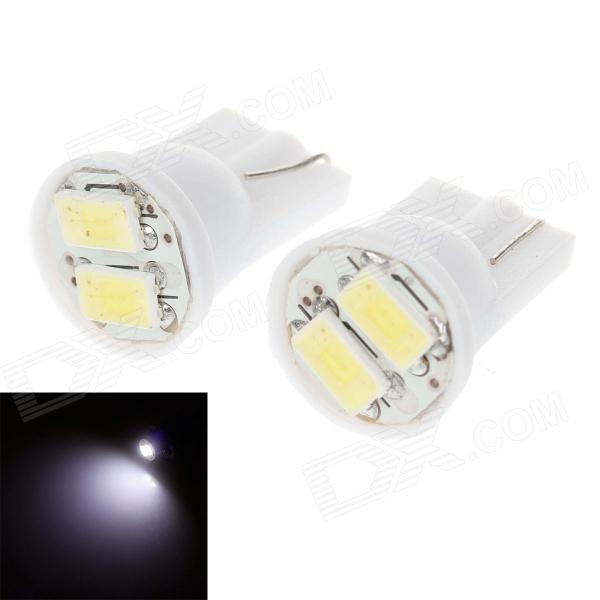 T10 0.4W 14lm 2 x SMD 5730 LED White Light Car Lamp Bulb - White (DC 12V / 2 PCS) lexing lx r7s 2 5w 410lm 7000k 12 5730 smd white light project lamp beige silver ac 85 265v